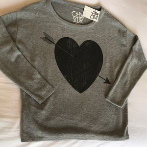 Chaser Lounge Wear Top with Heart Graphic